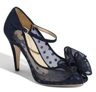 Navy Polka dot peep toes by Kate Spade. Pretty!