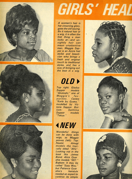 "Fashion in Ghana - African Hair styleStory of the evolution of African women and their hair, if written, can occupy a whole library. In this picture, I prefer the natural hairstyle, the one labeled ""old."""