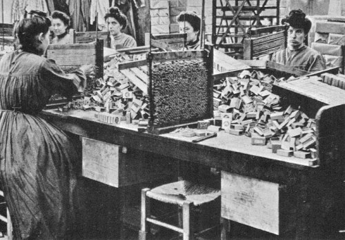 thruflowheater:  Women working in a match factory, 1909 photo from Unsere Welt, gestern heute morgen, 1800 - 2000, 1968