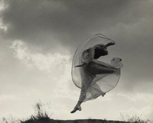 The dancer Sarah Jankelow jumping in front of clouds by Franz Fiedler, 1926 from frenchtwist [Also & more]