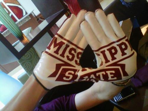 maroon-white:  Adidas's new gloves for the season. 45 days! Hail State!