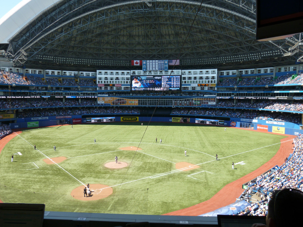 View from the SkyDome press box. You have no idea how difficult it was being in there and having to contain my fandom when Mo was on the mound.