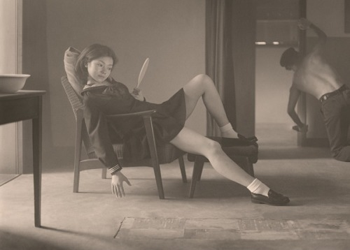 art-mirrors-art:  [ H ] Hisaji Hara - A study of 'The Hapy Days' by Balthus (2009)  mmm recent japanese photography referencing postwar japanese photography