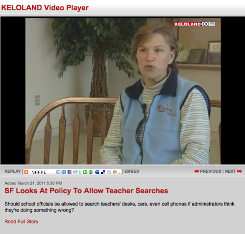 "Should we pay a school board member for doing a TV interview?  On March 21, the Argus Leader published a story I wrote about a proposed change in Sioux Falls School District policy  concerning searches of teacher's personal property. Teachers were upset  with the policy, and they eventually got their way. After our story ran, KELO-TV did its own story on the same subject. Katie Janssen spoke with the union president and  with Debbie Hoffman, one of two school board members who serve on the  policy review committee. For that TV interview, Hoffman later submitted a claim to the school  district's business office for $75. During the April 25 board meeting,  the rest of the board approved that claim. I'd never seen that before. An elected official was paid for  participating in a TV interview. She was paid not by the TV station,  which is another matter altogether, but by the tax-supported governing body on which she serves. In other words, us. I'd have written a story about it, but it turns out our Brenda  Wade-Schmidt basically did the same story for the newspaper in 2003. She  wrote: ""Sioux Falls School Board members get paid for reading to  elementary  school children, attending Chamber of Commerce events, doing  newspaper  and television interviews, and handing out diplomas. Last year, the five members earned $31,680, ranking them among the highest paid school boards in the state. They earned payments for attending dozens of meetings. But they  also  were paid for activities such as attending a press conference with  Gov.  Bill Janklow, taping a program for the district's OWL-TV station  and lobbying legislators in Pierre, an Argus Leader analysis of district  pay records shows. That story did not lead to a change in district policy - or perhaps more to the point, state law - although I've noticed it's fairly rare for board members today to submit claims for payment. The statutory language that allowed Hoffman to get paid is as follows: The per diem may be paid for each meeting actually attended by such member and also for each day a member was actually engaged in the service of the board when authorized by the board. If it weren't for KELO, Hoffman would not have been ""engaged in the service of the board"" on that Monday."