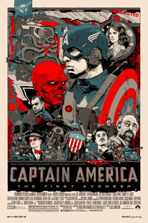 graphicly:  danhacker:  'Captain America: The First Avenger' | Tyler Stout  Alamo Draft House poster artist Tyler Stout has created yet another stunning poster, this time for the Joe Johnston directed film, 'Captain America: The First Avenger'.  Who is going to see Captain America tonight? Oh, me, me, me, me.