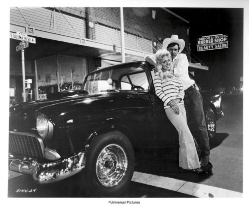 "Linda Christensen and Harrison Ford ""American Graffiti"" set 1973"