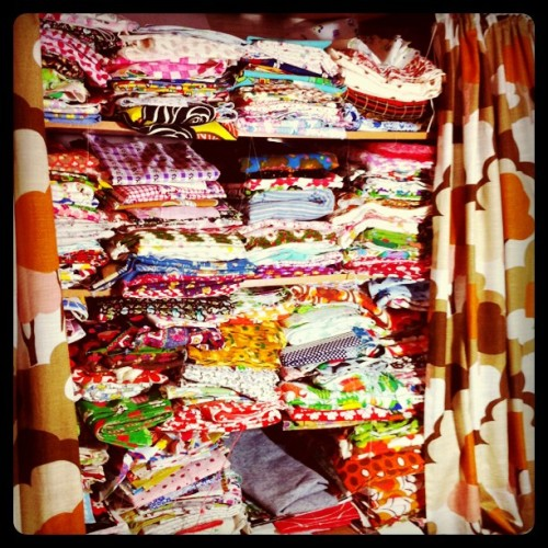 fabric heaven in my little sewing room #vintagefabrics #fabrics #sewing (Taken with instagram)
