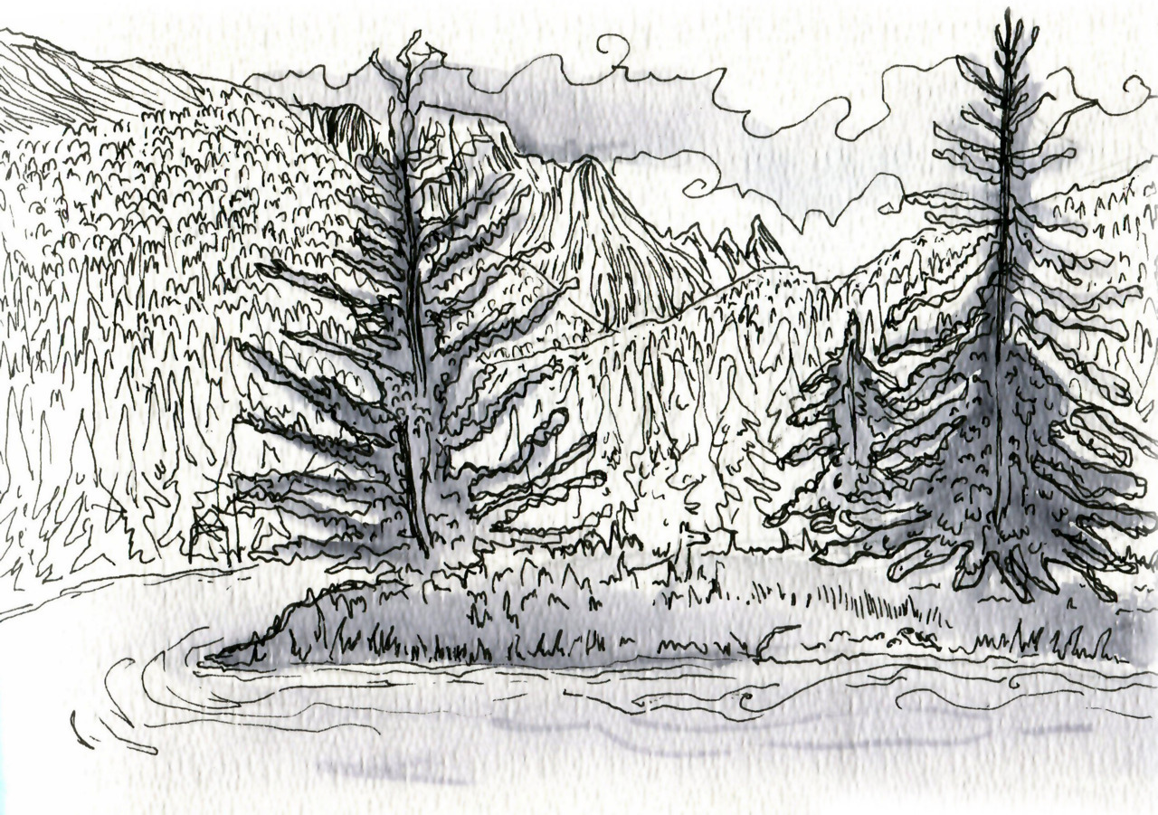 When staying in Canada, I practiced drawing landscapes.