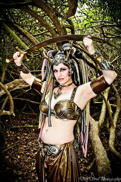"Sabrina Belly Dancer in custom Organic Armor ""Bronze Age"" set. Hawkstone Park, Shropshire, England. Photo by Dark Soul Photography"