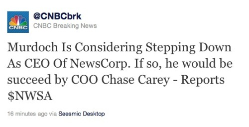 Rupert Murdoch may step down as CEO: At least that's what CNBC is saying. Developing … (EDIT: Please see update.)