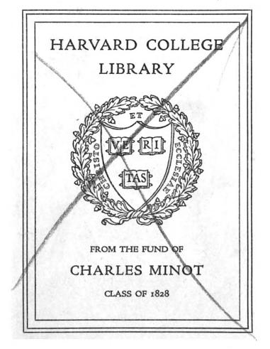 Harvard library purchase bookplate with penciled 'X' From front matter of Cottage Economy by William Cobbett (1823). [Here]