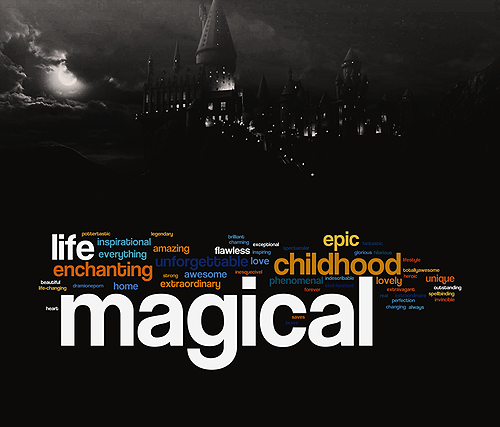 IF YOU WERE TO DESCRIBE HARRY POTTER IN ONE WORD, WHAT WOULD IT BE? (word size is based on how many times it was answered)