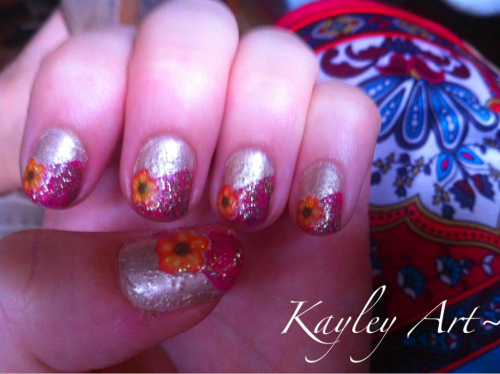 My birthday nails, color scheme of dress   Essence colour & go- Gold Rush  Essence colour & go- Ultimate Pink  OPI- Bring on the Bling  Cina nail stickers
