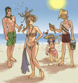 Discretional Valor characters at the beach.