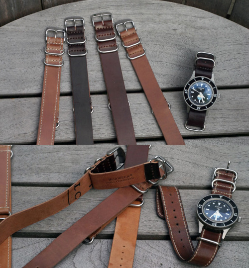 Genuine Horween Leather Company Shell Cordovan NATO style watchstraps. Corvus Watch