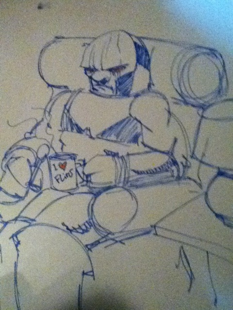 Darkseid chilling on a couch fan art! Submitted by hermeselsabio, famous film critic.