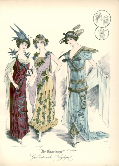Fancy dress, 1912 the Netherlands, De Gracieuse Looks like (left to right) a flock of birds*, Dionysus or a grapevine and one of those newfangled flying contraptions. * Possibly with real stuffed birds if the era is any indication.  The outfit was cute at first but now it looks like a massacre.