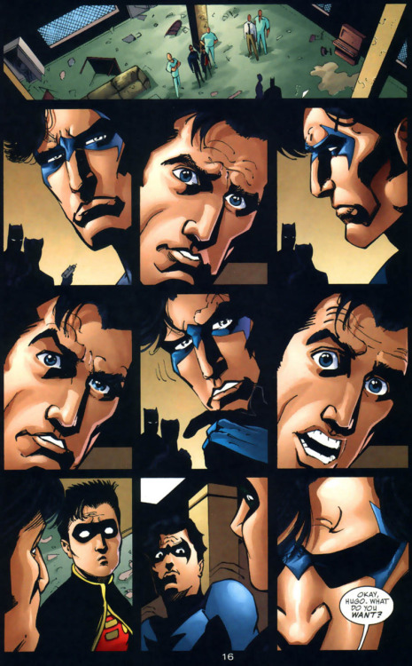 charmingdeadpool:  udontease:  that page with Tim and Dick staring at each other weirdly? it also includes Bruce.  I read it and still have no idea wtf the staring is about. Gotham Knights 11 pg16  CRYING