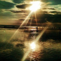 #beach #bali #iphonesia #ocean # sea #clearbeach #sunset #sunlight #sun #reflection  (Taken with instagram)