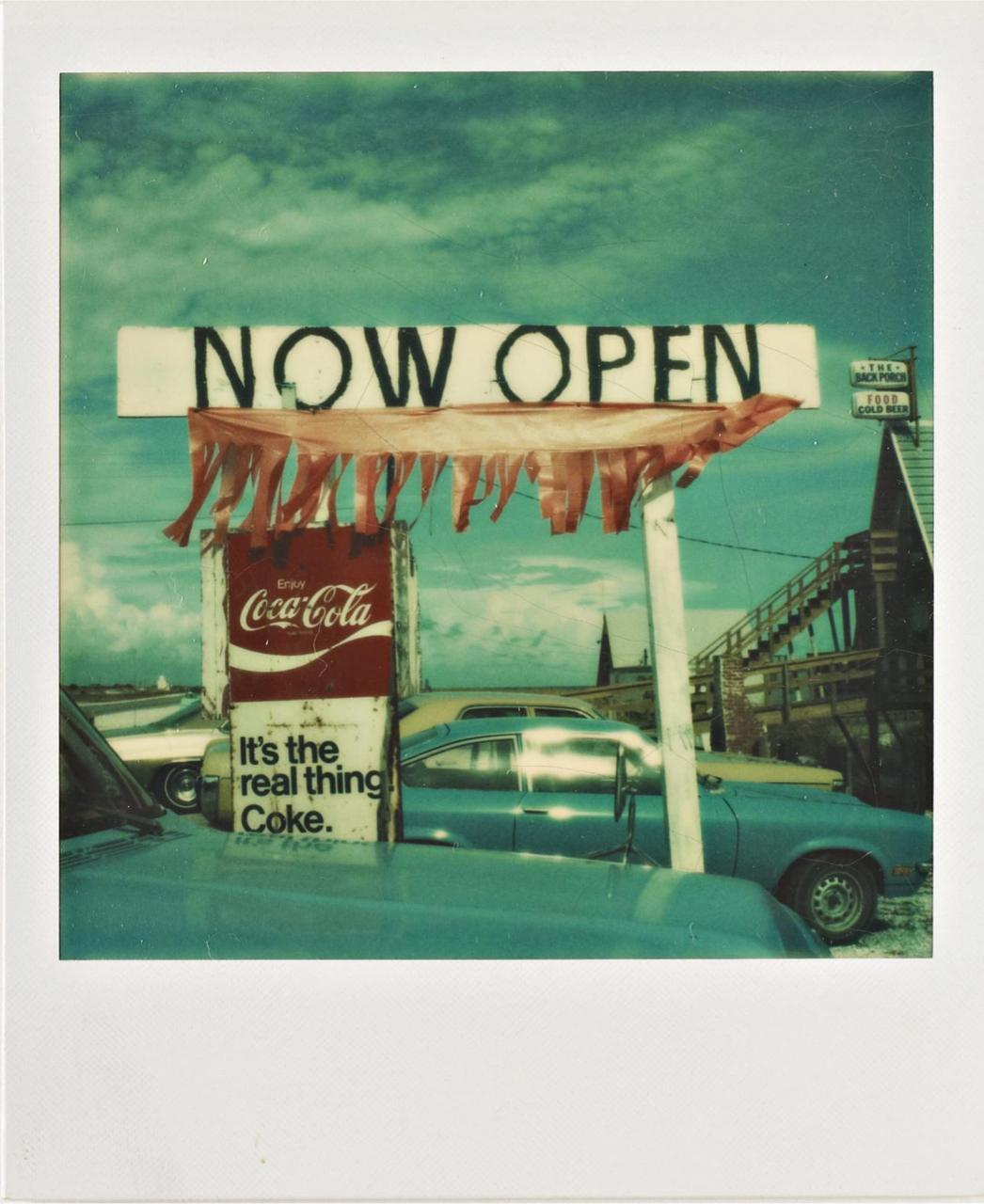 lapetitecole:  WALKER EVANS Untitled ('Now Open'), 1974 Unique Polaroid print.  8 x 7.8 cm (3 1/8 x 3 1/8 in).
