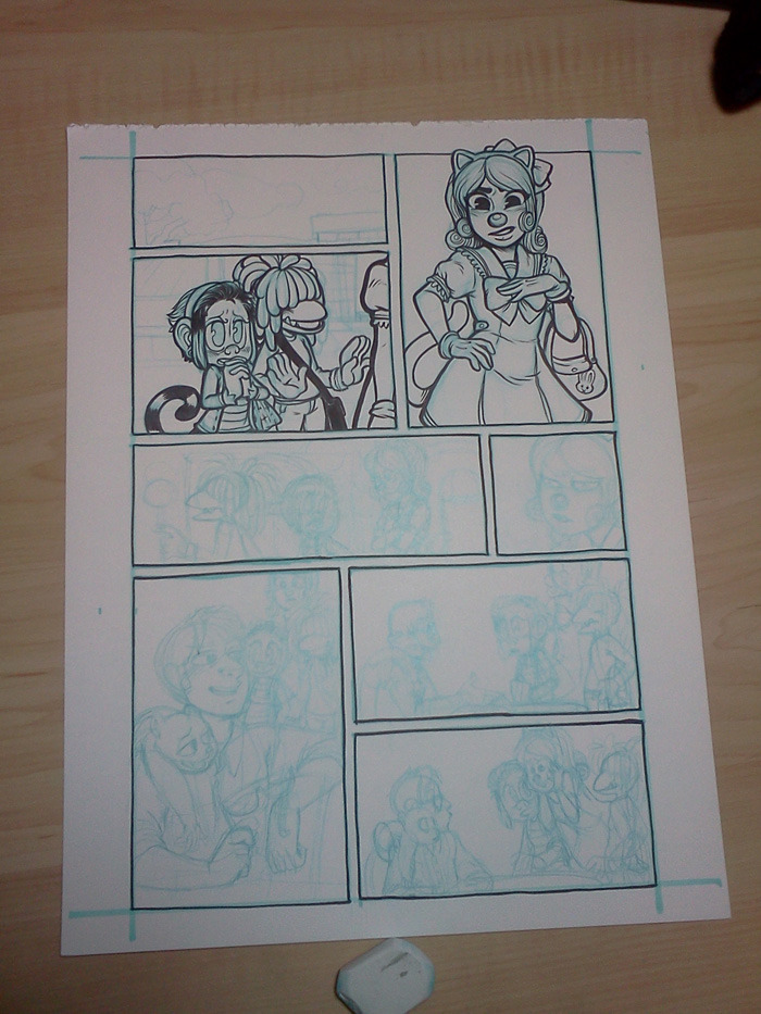 Put this on Google Plus too, but they don't do big images yet :( inking page one of this crossover guest comic. Gotta get page 2 done soonish, work-intensive week. Gotta stay on that work train!
