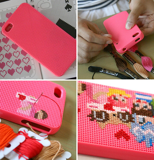 DIY Stitch iPhone Case | Oh Gizmo! As soon as I saw this I was like - MUST SHARE! This is the cutest cover I've seen in a long time. I don't know if I would do the pattern that is pictured but there are a ton of possibilities. And the best part is that if you get sick of the design, just snip off your threads and start again!