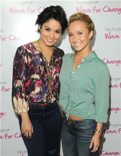 Vanessa Hudgens wore Hudson Jeans today in Los Angeles at an event for Neutrogena. Vanessa Hudgens and Hayden Panettiere teamed up to support Neutrogena's 2nd Annual Wave for Change in Los Angeles, and Vanessa wore the Hudson High Waist Wide Leg Jean in Maverick. The Hudson Jeans look great with this look!!
