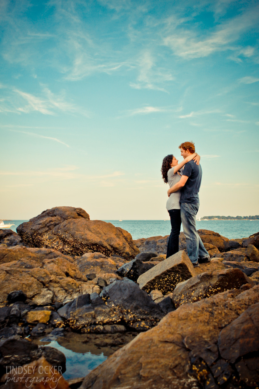 Rocky beaches, New England sunset, and a can't-hide-it-giddy engaged couple. These sessions are just the best. Ashley & Ryan  |  Lindsey Ocker Photography