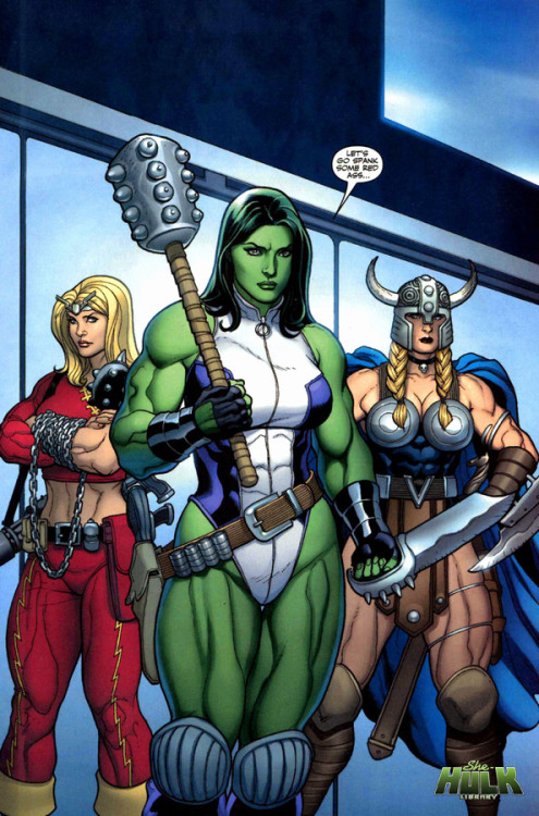 girlsofgotham:  spandexandsportsbras:  She-Hulk, Thundra and Valkyrie by Frank Cho  ALL THE FEELINGS!!!