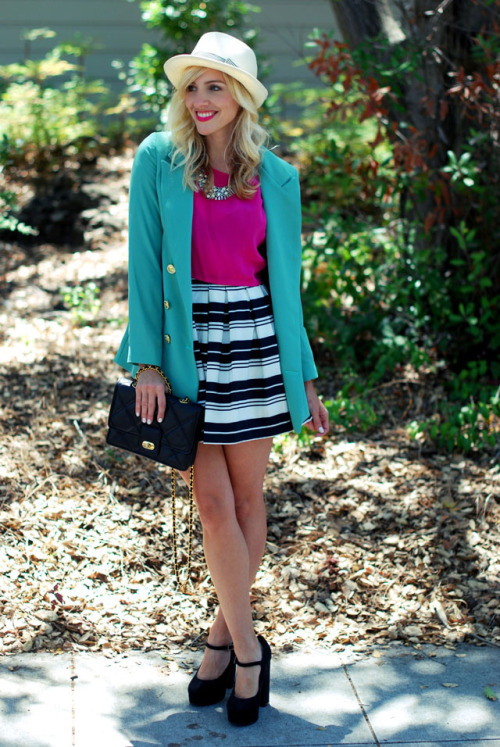 "Green + pink + stripes + straw hat. One ""striped"" way of color blocking (via theglitterguide:  (via sterlingstyle)"