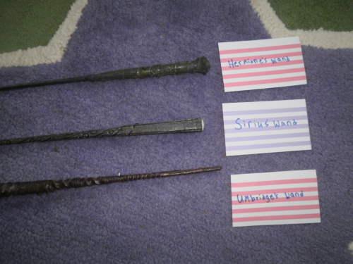 glofigs:  These are Harry Potter Wands that I bought awhile ago, when the Order of the Phoenix came out. They have been opened and used. But, I havent used them for about a year and a half. So, I decided I should give them away. I can either ship one wand to one person each or all together to one person. So, the rules are: You may reblog this up to five times only. You do not have to be following me. The cut-off for this is July 24th. (due to rapid amount of responses) I will then pick someone and let them know the information via ask box. Good luck everyone! Let the Games begin!