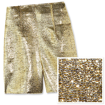 Disco may be dead but, thanks to Lanvin, gold lamé is alive and well. These high-waisted stunners are just begging to go out for a night of dancing. Pair them with a sexy black top and midnight-hued shoes and break out your best moves to show off the eye-catching molten fabric. —Bronwyn Barnes, Entertainment Editor Click here to see more details on this solid gold design! See All Jewelry See All Shoes See All Bags