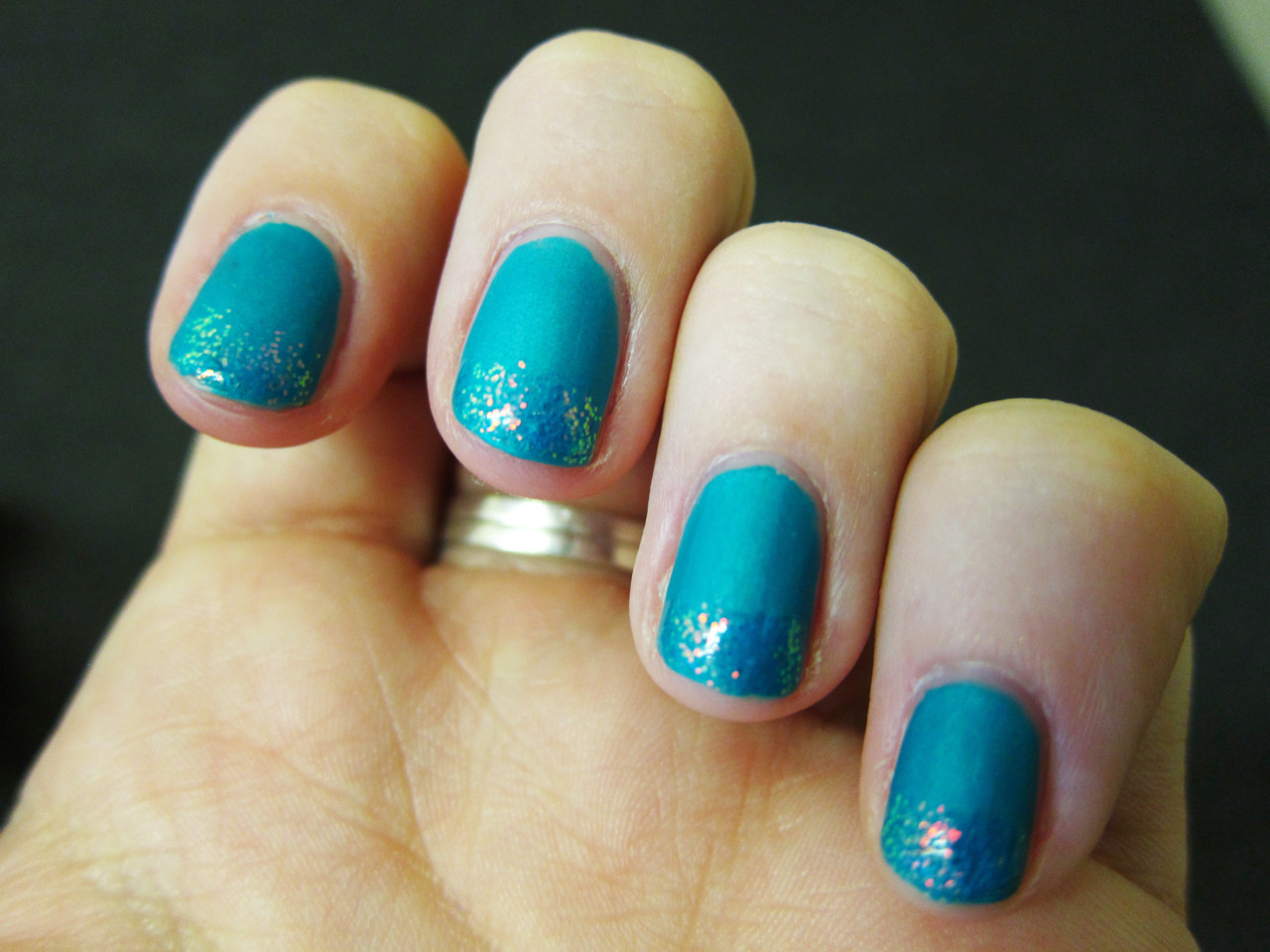 China Glaze - Turned Up TurquoiseKleancolor - Chunky Holo Teal
