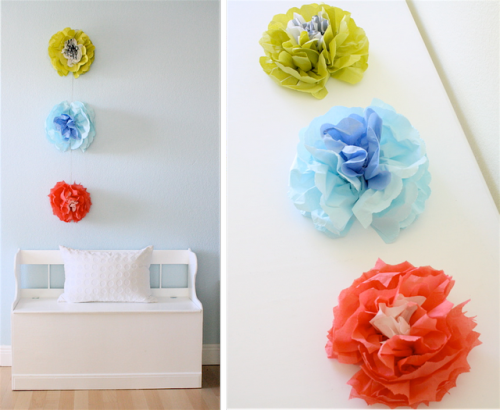 DIY napkin wall flowers