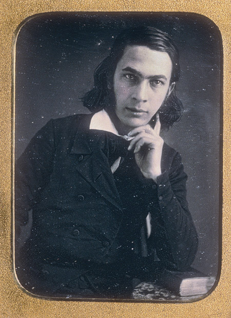 "ca. 1850-54, [Portrait of George Lippard]  A religious and philosophical child prodigy from Philadelphia, George Lippard was a prolific author and a steadfast defender of the oppressed. In 1847, he founded the Brotherhood of America, an organization that continues to champion the underprivileged today, and his writings are said to have awakened Abraham Lincoln to the plight of slaves. Lippard, whose best known essays recorded ""Legends"" of old Philadelphia, was also a close friend of Edgar Allan Poe.  via the Metropolitan Museum of Art, Heilbrunn Timeline of Art History"