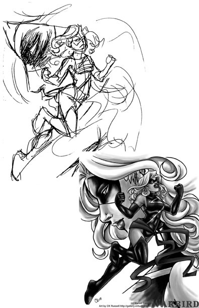 Process thing for the Warbird/Ms Marvel piece I've posted recently. The upper image is ballpoint pen in a 3x5 inch notebook, the lower is a small B&W of the 8x11 piece that was colored in photoshop. Got a request, suggestion or question? Put it in my ask box!