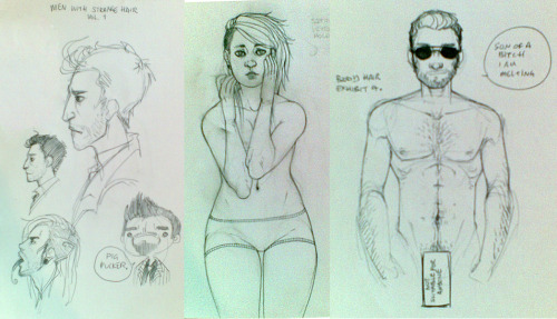 my friend asked me to show her how to draw body hair. I obliged. I got some… interesting looks from the people in the bus station while I was drawing these.