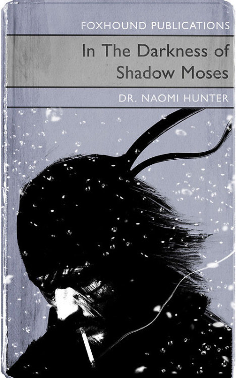 """In The Darkness of Shadow Moses"" video game themed vintage book covers by A.J. Hateley"