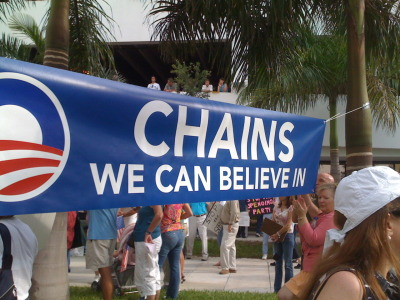 "(""Chains We Can Believe In"" South Florida Tea Party ""Tax Day"" Rally, West Palm Beach, Fla., April 15, 2010 - By Jessica Chasmar)"