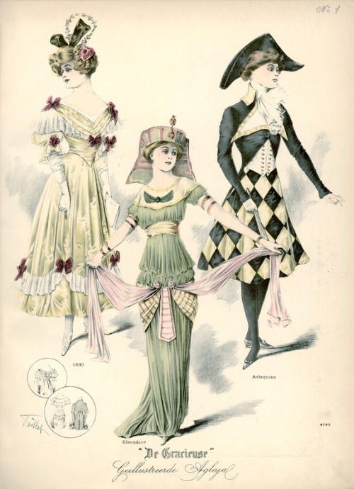 "Fancy dress, 1910 the Netherlands, De Gracieuse (Left to right) ""1830"" dress, Cleopatra and Harlequin"