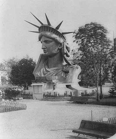 The Statue of Liberty's head on exhibit at the Paris Exposition of 1878.