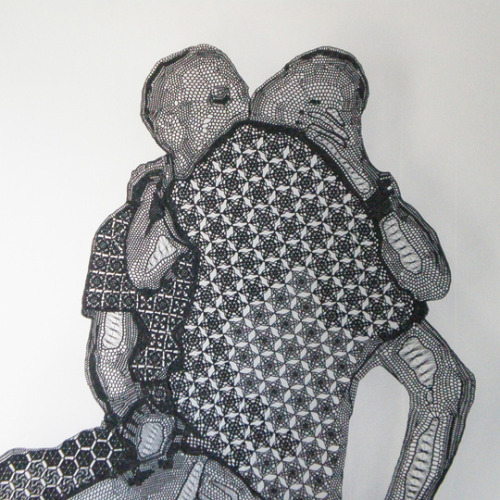 Title: The Kiss (2008) Artist: Pierre Fouché Material: Crochet Lace Dimensions: 2000mm x 1200mm