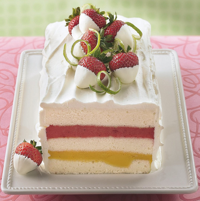 Mango-Strawberry Sorbet Torte Recipe by Betty Crocker Recipes on Flickr.