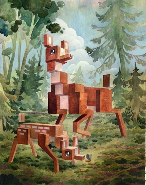 "Pixelated Animals Victoria B.C.-based artist Laura Bifano paints furry forest beasts, sea-critters and insects as""pixelated"" forms. Still cute though, lest you imagine the pure horror of a creature like that IRL, stumbling towards you on its blocky feet, blinking square eyeballs and drooling cubic drool… The artist is right in the middle of dropping one original print a day on her Etsy shop."
