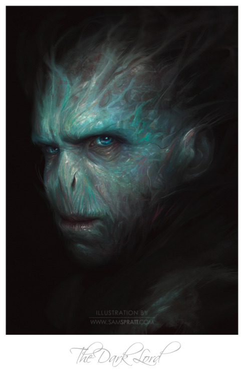 """The Dark Lord"" - Voldemort portrait painting by Sam Spratt After several quick illustrations with my internet memes, I wanted to put some heavy hours into a classical portrait with a modern theme. Painting out from the darkness, I constructed the snake-like villain through hundreds of layers of color variation stacked in transparency to achieve the sickly texture and pigment of his skin—focusing on the subtleties of light and color.  If you like this illustration, do follow me on tumblr (I follow back almost every person that follows me), or for the latest, I run a mean facebook artist's page and a musing-filled twitter."