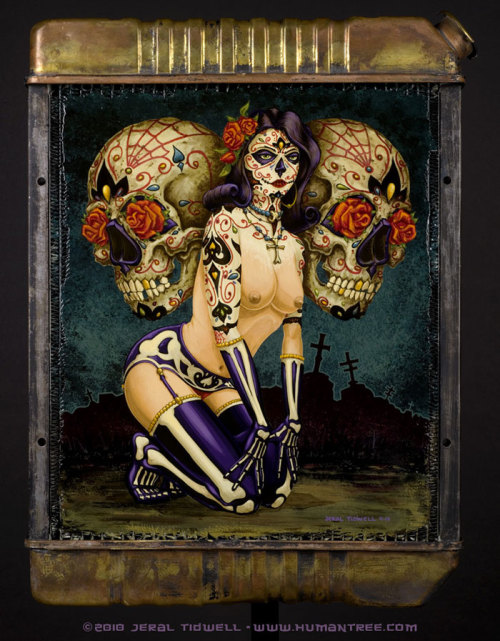 mywayfarers:  Day of dead girl (Painted over radiator)  Jeral tidwell