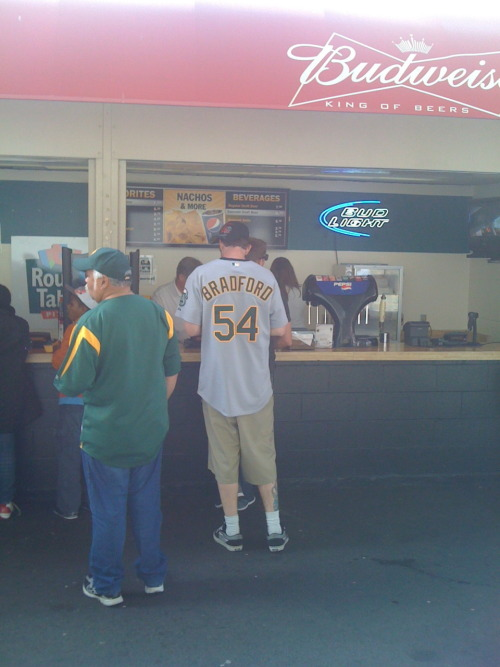 "Chad Bradford, Oakland Athletics:  ""Look, man. I don't care what tastes the best; I just want to find an undervalued asset. Now, are onion rings or nachos the OBP of concession stands?""  (Found by Brian in Oakland.)"