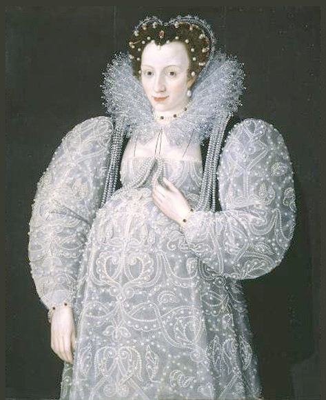 Portrait of an Unknown Lady by Marcus Gheeraerts the Younger, ca 1595 England, Tate Gallery Interesting.  I've never seen Elizabethan maternity clothing before.
