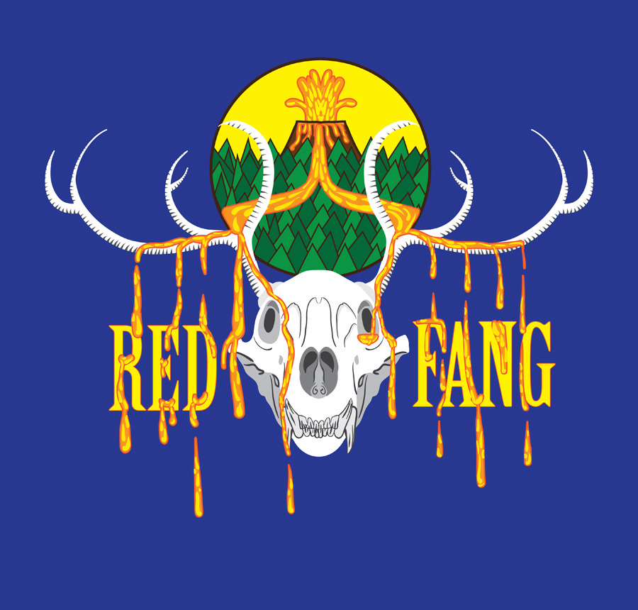 Wow, I sure whipped this one out.  Shirt design for Red Fang. I felt like even though a skull has been done/is obvious that I really had to go with it. I tried to avoid the usual black metal band shirt, but keep it heavy.   I came up with the lava part while lifeguarding.