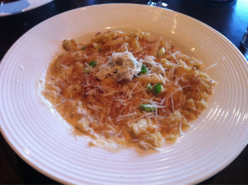"CRAB MACARONI AND CHEESE  Have any of you been to Wheatfields in Clifton Park? If you haven't you're missing out. It's really good food, ambiance, service and the wines are awesome and compliment the food real well. Not to mention the fact that the majority of the food that they make is made fresh everyday.   Regardless I went there a little while ago and had probably one of thee BEST pasta and seafood dishes I've ever had. It's a twist on an old classic. CRAB MACARONI AND CHEESE. Now on their website (http://www.wheatfields.com/) under the dinner menu the description is:  Maryland lump crab, Vermont-aged cheddar, parmesan, cream, sherry  This does it NO justice. The crab is PERFECTLY blended with the sherry Alfredo sauce. It has a sweet flavorful taste to it and the Vermont cheese adds to that flavor.   Obviously this isn't a normal mac and cheese. I stand by my words ""It's the best pasta and seafood dish I've ever had"". If you like crab plus mac and cheese then DEF have this dish and let me know what you think!.   Buen Provecho!!"